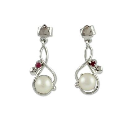 Cultured pearl and ruby dangle earrings, 'Graceful Beauty' - Modern Pearl and Ruby Earrings