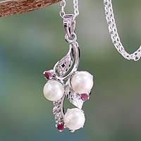Cultured pearl and ruby pendant necklace, 'Radiance' - Hand Crafted Pearl and Ruby Necklace