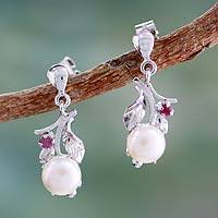 Cultured pearl and ruby dangle earrings, 'Nature's Gift' - Floral Pearl and Ruby Earrings