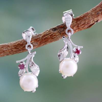 Cultured pearl and ruby dangle earrings, 'Nature's Bounty' - Floral Pearl and Ruby Earrings