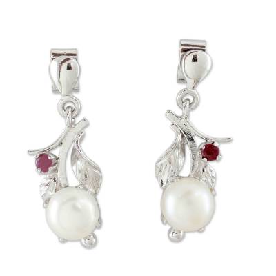 Floral Pearl and Ruby Earrings