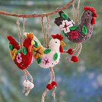 Wool ornaments, 'Three French Hens' (set of 3)