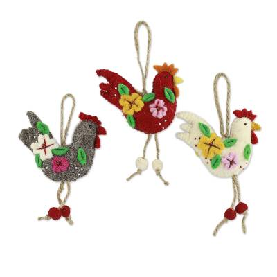 Wool ornaments, 'Three French Hens' (set of 3) - Handcrafted Wool Felt Ornaments from India (set of 3)