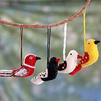 Wool ornaments, 'Four Calling Birds' (set of 4)