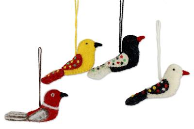 Wool ornaments, 'Four Calling Birds' (set of 4) - Fair Trade Wool Bird Ornaments (set of 4)