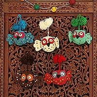Wool ornaments, 'Happy Pompom Owls' (set of 5)