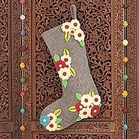 Wool Christmas stocking, 'Festive Daisies' - Appliqué Wool Christmas Stocking