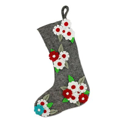 Appliqué Wool Christmas Stocking Festive Daisies Novica
