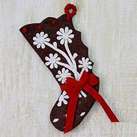 Wool Christmas stocking, 'Gingerbread Feast' - Wool Felt Christmas Stocking from India