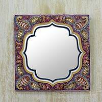 Marble dust mirror, 'Holi Magic' - Handcrafted Marble Dust and Mango Wood Art Mirror from India