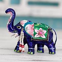 Meenakari sterling silver figurine, 'Lucknow Royal Elephant'