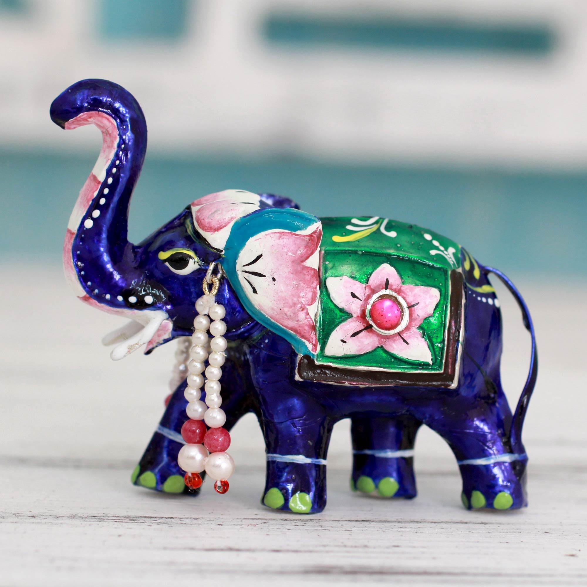 Meenakari Enamel on Sterling Silver Figurine, 'Lucknow Royal Elephant' animal sculptures