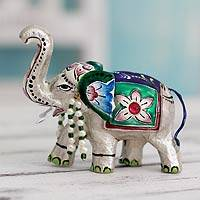 Meenakari sterling silver figurine, 'Varanasi Royal Elephant' - Traditional Meenakari Silver Elephant  from India