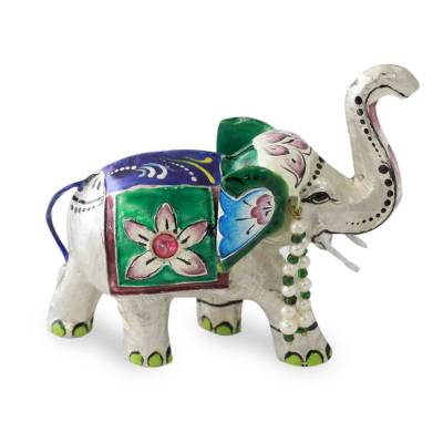 Meenakari sterling silver figurine, 'Varanasi Royal Elephant' - Traditional Meenakari Silver Figurine from India