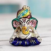 Meenakari sterling silver figurine, 'Varanasi Ganesha' - Traditional Meenakari Silver Figurine from India