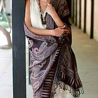 Jamawar wool shawl, 'Earthen Splendor' - Wool Hand Embroidered Paisley Shawl