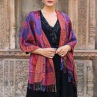 Jamawar wool shawl, 'New Delhi Afternoon' - Women's Paisley Shawl from India