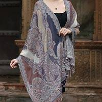 Jamawar wool shawl, 'Indian Jacaranda' - Lavender and Brown Shawl with Silver Thread