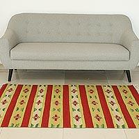 Wool area rug, Scarlet Garden (4x6)