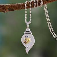 Gold accent pendant necklace, 'Conch Shell Mantra' - Gold Accent Om Mantra Sterling Silver Necklace from India