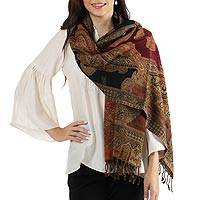Jamawar wool shawl, 'Mughal Exuberance' - Multi-Colored Floral and Paisley Wool Jamawar Wrap