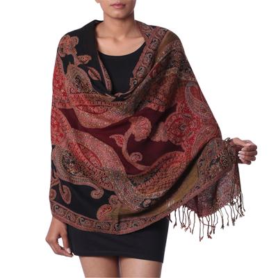 Jamawar wool shawl, 'Mughal Exuberance' - Multi coloured Wool Jamawar Shawl Wrap