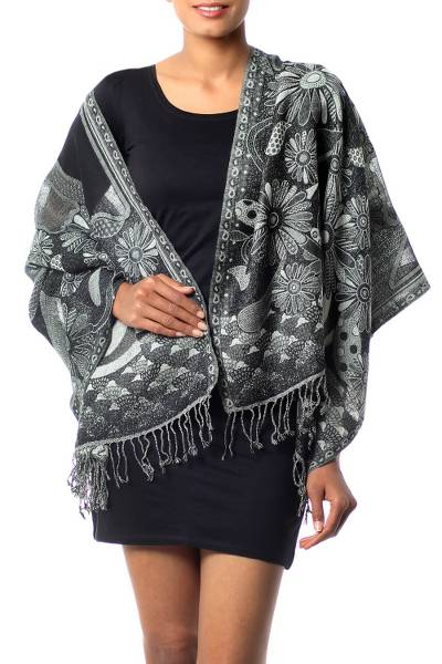 Jamawar wool shawl, 'Daisy Realm' - Black and grey Wool Jamawar Shawl Wrap