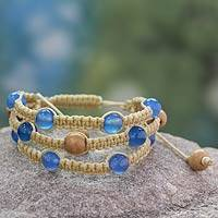 Chalcedony Beaded bracelet, 'Peaceful Mind' - Fair Trade Macrame Chalcedony Shambhala-style Bracelet