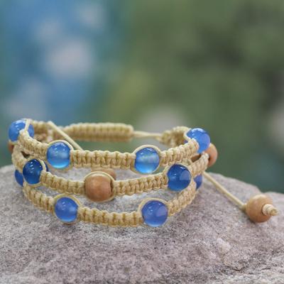 Chalcedony Shambhala-style bracelet, 'Peaceful Mind' - Fair Trade Macrame Chalcedony Shambhala-style Bracelet