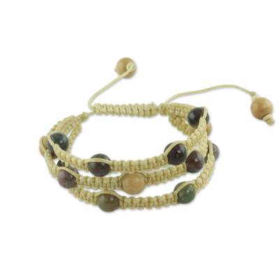 Fair Trade Macrame Agate Shamballa Bracelet