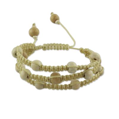 Fair Trade Macrame Wood Bead Shamballa Bracelet