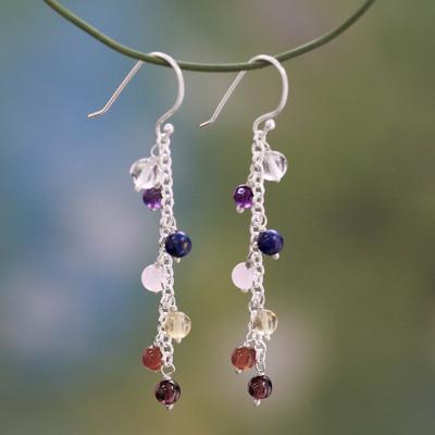 Multi-gemstone chakra earrings, 'Tranquility' - Gemstone Chakra Theme Waterfall Earrings