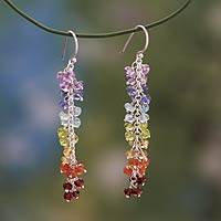 Multi gemstone chakra earrings, 'Joyous Life' - Unique Handcrafted Multigem Dangle Earrings