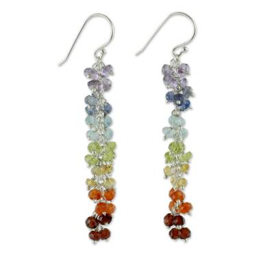 Multi gemstone chakra earrings, 'Joyous Life' - Chakra Earrings from India