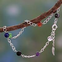 Multi-gemstone chakra anklet, 'Season of Love' - Silver and Gemstone Chakra Ankle Bracelet from India