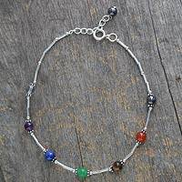 Multi-gemstone chakra anklet, 'Love's Health' - Multi Gems and Sterling Silver Anklet Chakra Jewelry