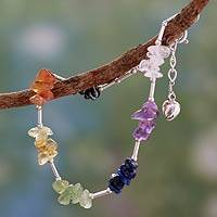 Multi-gemstone chakra bracelet, 'Sense of Peace' - Gemstone and Sterling Silver Chakra Bracelet