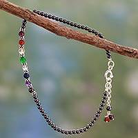 Hematite chakra anklet, 'Inner Balance' - Handcrafted Multi Gemstone Quartz and Sterling Silver Anklet