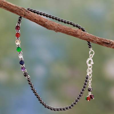 Hematite chakra anklet, 'Inner Balance' - Handcrafted Multi Gemstone Anklet Chakra Jewelry