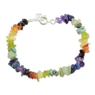 Multi-gemstone chakra bracelet, 'Tranquil Mind' - Handcrafted Colorful Multi Gemstone Bracelet