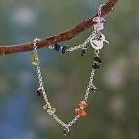 Multi-gemstone chakra anklet, 'Balance Within' - Multi Gemstone Sterling Silver Anklet Chakra Jewelry
