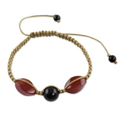 Handcrafted Onyx and Agate Shamballa Bracelet from India