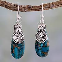 Sterling silver dangle earrings, 'Delhi Legacy' - Turquoise colour Earrings Hand Crafted in Sterling Silver