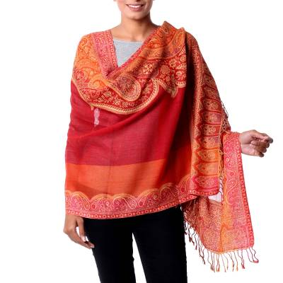 Jamawar wool shawl, 'Crimson Riches' - Red Orange Yellow Jamawar Wool Shawl
