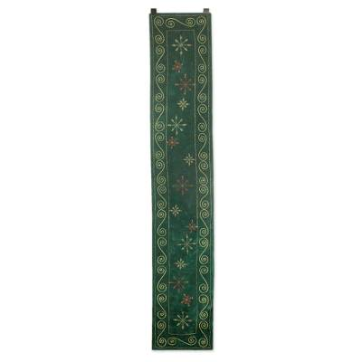 Embroidered table runner, 'Forest Green Wonderland' - Embellished Green Velvet Table Runner