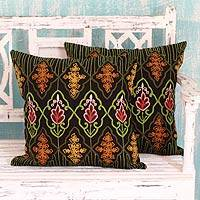 Embroidered cushion covers, 'Floral Night' (pair) - 2 Chain Stitch Embroidery Cushion Covers