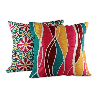 Cushion covers, 'Happy' (pair) - Bright Embroidered Applique Cushion Covers (Pair)