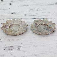 Soapstone teaight holders, 'Beige Lotus Purity' (pair) - Handcrafted Natural Soapstone Tealight Holders (Pair)