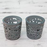 Soapstone teaight candleholders, 'Midnight Garden' (pair) - Natural Soapstone Candleholders Carved by Hand (pair)