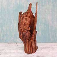 Reclaimed wood sculpture, 'Wintry Fun' - Handcrafted Indian Sal Wood Friendship Sculpture